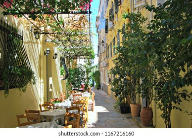 Terrace of a cafe in Corfu old town.