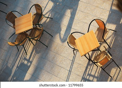 terrace of a cafe/restaurant on a sunny day