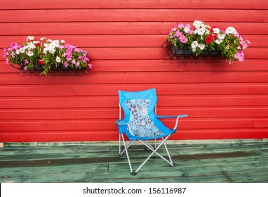 terrace, chair, flowers