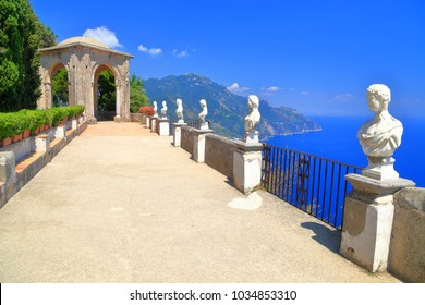 Terrace decorated with sunny statues in Ravello, Amalfi coast, Italy