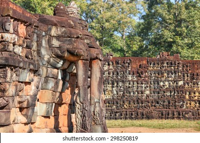 Terrace of the Elephants, part of the walled city of Angkor Thom, a ruined temple complex in Cambodia