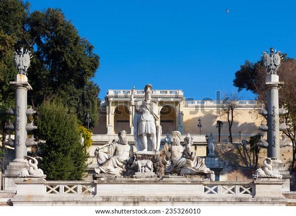 Terrace Fountain Piazza Del Popolo Rome Stock Photo Edit