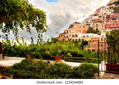 Terrace garden with the awe view at cliffside village Positano in the Amalfi Coast, Southern Italy.