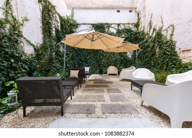 Terrace of a hotel cafe.