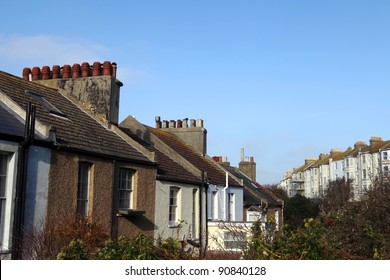 Terrace houses in Hastings in England. Victorian architecture and traditional english row of homes