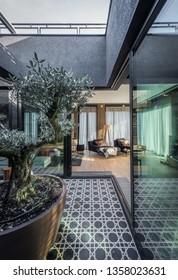 Terrace interior in luxury apartment