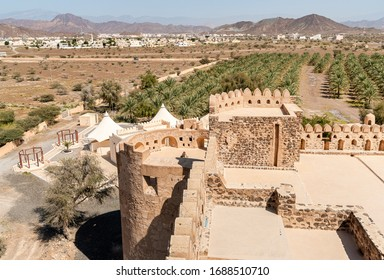 Terrace of the Jabreen Castle with the fields of date palms in background, Bahla, Sultanate of Oman.