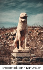 Terrace of the Lions in Historical Ruins in Delos Island near Mikonos, Greece.
