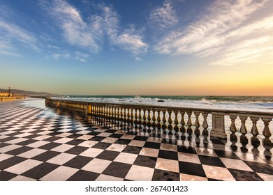 Terrace Mascagni in Livorno, viewpoint along the sea with the checkerboard floor, Tuscany, Italy