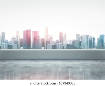 Terrace with modern city view