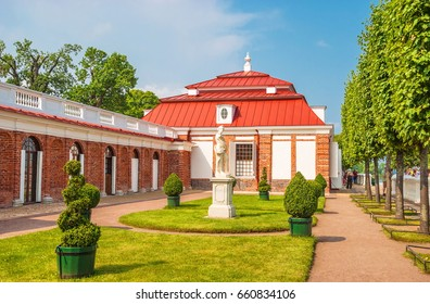 Terrace of the Monplaisir Palace in the Peterhof palace and park complex. Russia, Saint-Petersburg. July 26, 2016
