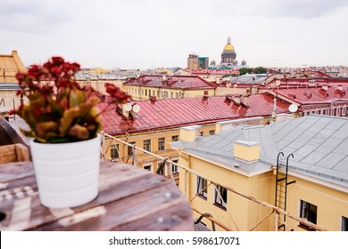 Terrace on the roof top with beautiful view of Saint Peterburg old town.