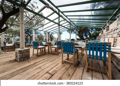 Terrace outdoor cafe with sea view