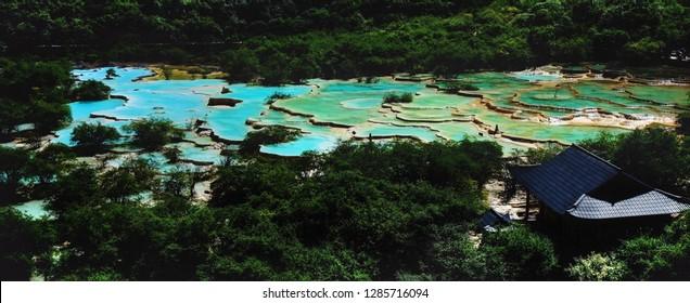 Huanglong terrace pool in sichuan