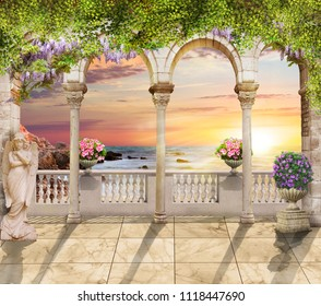 Terrace with sea view. Beautiful view. Digital fresco