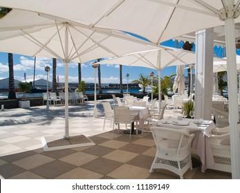 Terrace set for al fresco dining