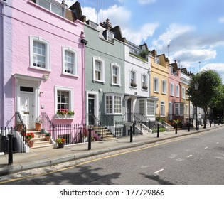 Terrace of small eighteenth century Georgian period houses in London, UK.