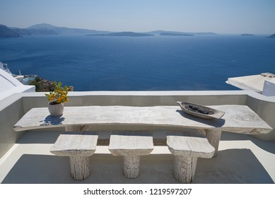 Terrace with table on the sea ( Oia ) - Santorini Island - Aegean sea - Greece