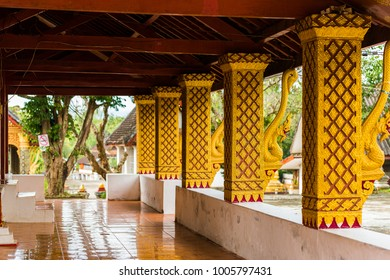 Terrace of the temple in Luang Prabang, Laos. Copy space for text