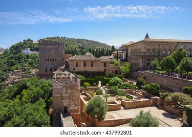 Terrace, towers and wall of medieval Alcazaba fortress of Alhambra, Granada, Spain