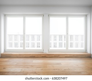 terrace windows in new apartment with wooden floor