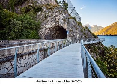 Terraced bike path over Lake Garda in Limone sul Garda. Italy, Lombardy