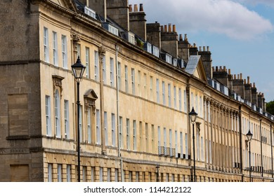 Terraced Georgian Houses on Great Pulteney Street in Bath, England, U.K