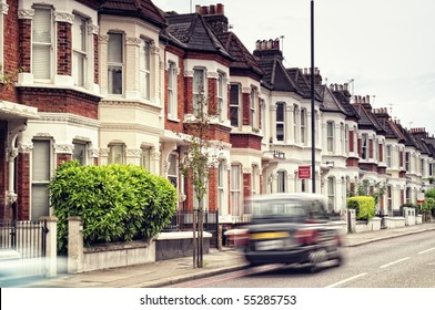 "Terraced Houses and blured ""Black Cab""in  Clapham ,London. (Long exposure)"