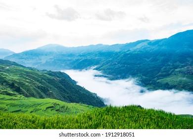 Terraced scenery of Jiapang in Qiandongnan, Guizhou Province, China
