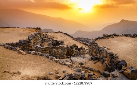 Terraces in an abandoned village in Hajar mountains of Ras Al Khaimah, UAE