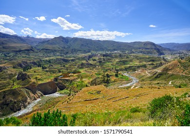 Terraces on the Colca River. In the background the birth of the Amazon River in the Cordillera Chila, on the slopes of the snowy Mismi, in Arequipa, Peru