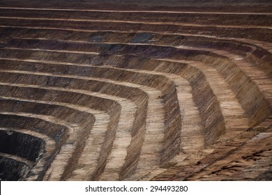 Terraces in open cast mine in New South Wales, Australia. Barrick Cowal Gold Mine.