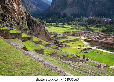 Terraces of Pumatallis at the Inca Fortress in Ollantaytambo, Peru. Ollantaytambo was the royal estate of Emperor Pachacuti who conquered the region.