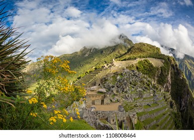 Terraces and sky with clouds of Machu Picchu
