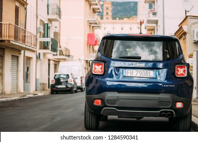 Terracina, Italy - October 15, 2018: Blue Jeep Renegade Bu/520 Car Parking At Street. Back View
