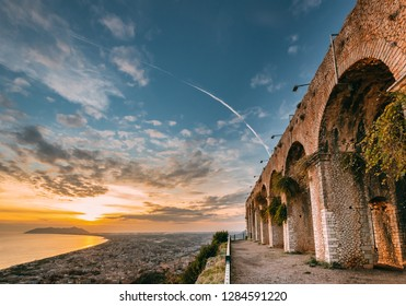 Terracina, Italy. Remains Of Temple Of Jupiter Anxur During Sunset.