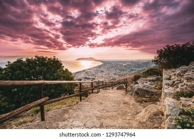 Terracina, Italy. Road To Temple Of Jupiter Anxur And Top View Skyline Cityscape City In Sunset Or Sunrise.