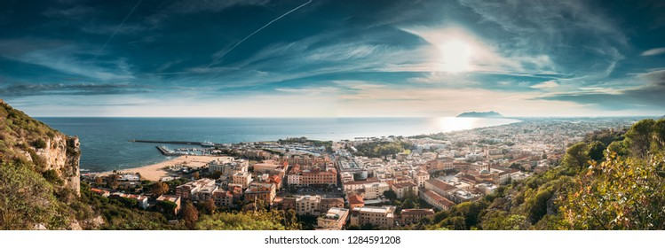 Terracina, Italy. Top View Of Terracina And Tyrrhenian Sea In Sunny Day. Panoramic View, Panorama.