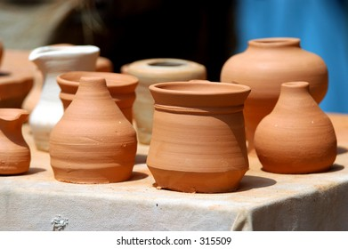 terracotta clay jugs and jars