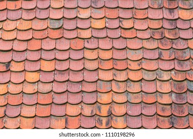 Terracotta clay roof shingles background