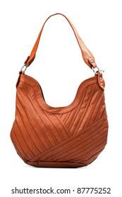 Terracotta female shoulder bag over white