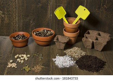 Terracotta pots, with tags and soil. A selection of seeds and pea, bean, pumpkin and beet lying on a table. Soil, perlite and vermiculite