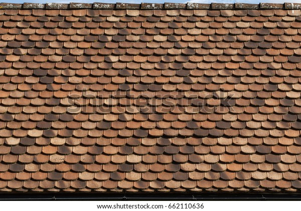 Terracotta Roof Tiles Pattern Typical Carnia Stock Photo