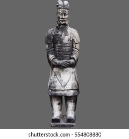 Terra-cotta warrior isolated on gray background.Include photoshop clipping path for change background.
