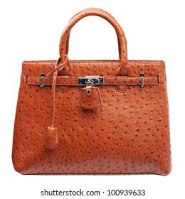 Terracotta women handbag isolated over white