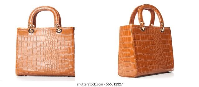 Terracotta women handbag isolated over white,Light brown glossy handbag isolated on white background.