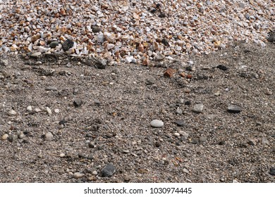 Terrain road with small rocks on the ground viewed from near the ground