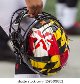 Terrapins Football Helmet  - NCAA Division 1 Football University of Maryland Terrapins  Vs. Ohio State Buckeyes on November 11th 2019 at the Ohio State Stadium in Columbus, Ohio USA
