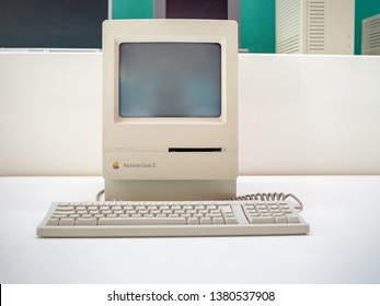 TERRASSA, SPAIN-MARCH 19, 2019: 1991 Apple Macintosh Classic II (Performa 200) Personal computer in the National Museum of Science and Technology of Catalonia