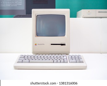 TERRASSA, SPAIN-MARCH 19, 2019: Apple Macintosh Plus Personal computer in the National Museum of Science and Technology of Catalonia